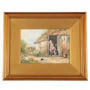 19th Century Myles Birket Foster Print 'Feeding the Cat'