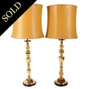 Large Pair of Brass Lamps