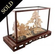 Chinese Carved Cork & Box Wood Diorama