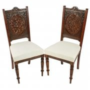 Unusual Pair of Carved Walnut Chairs