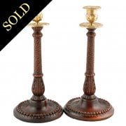 Pair of Victorian Oak Candlesticks
