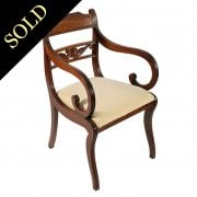 Regency Mahogany Sabre Leg Elbow Chair