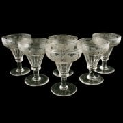 6 Engraved Pan Top Wine Glasses SOLD