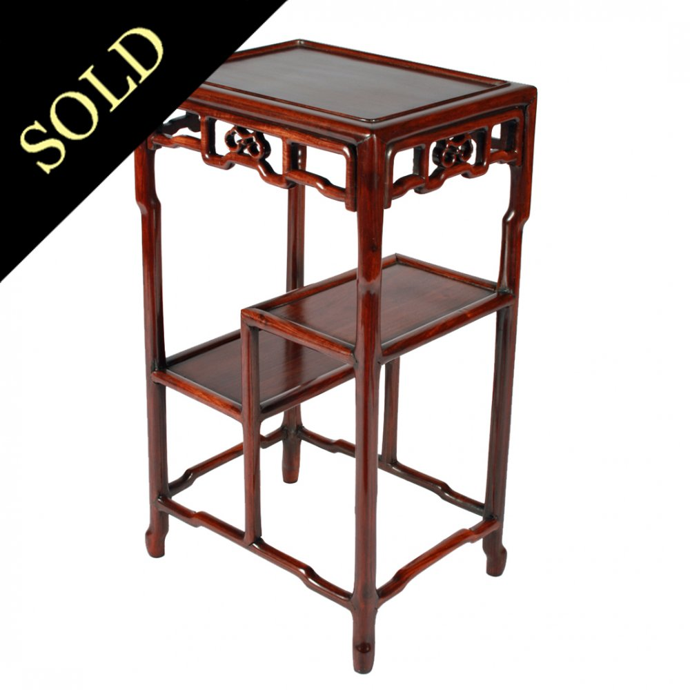 Chinese Carved Rosewood Side Table