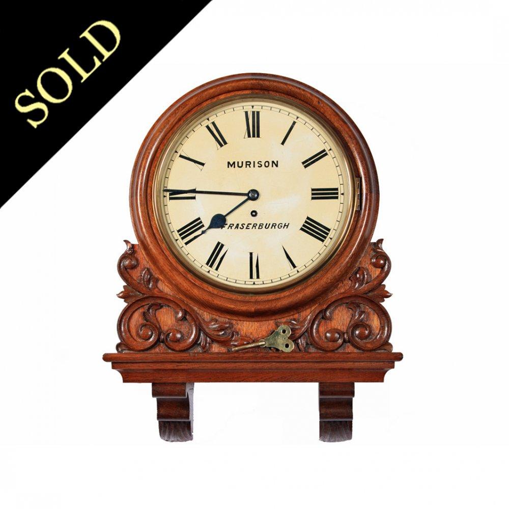Victorian Fusee Works Oak Cased Wall Clock