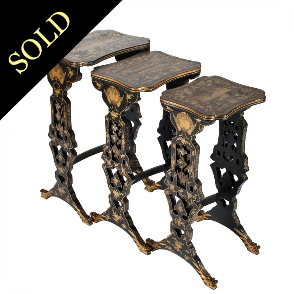 Chinese nest of tables antique chinese lacquered tables nest of three chinese lacquered tables watchthetrailerfo