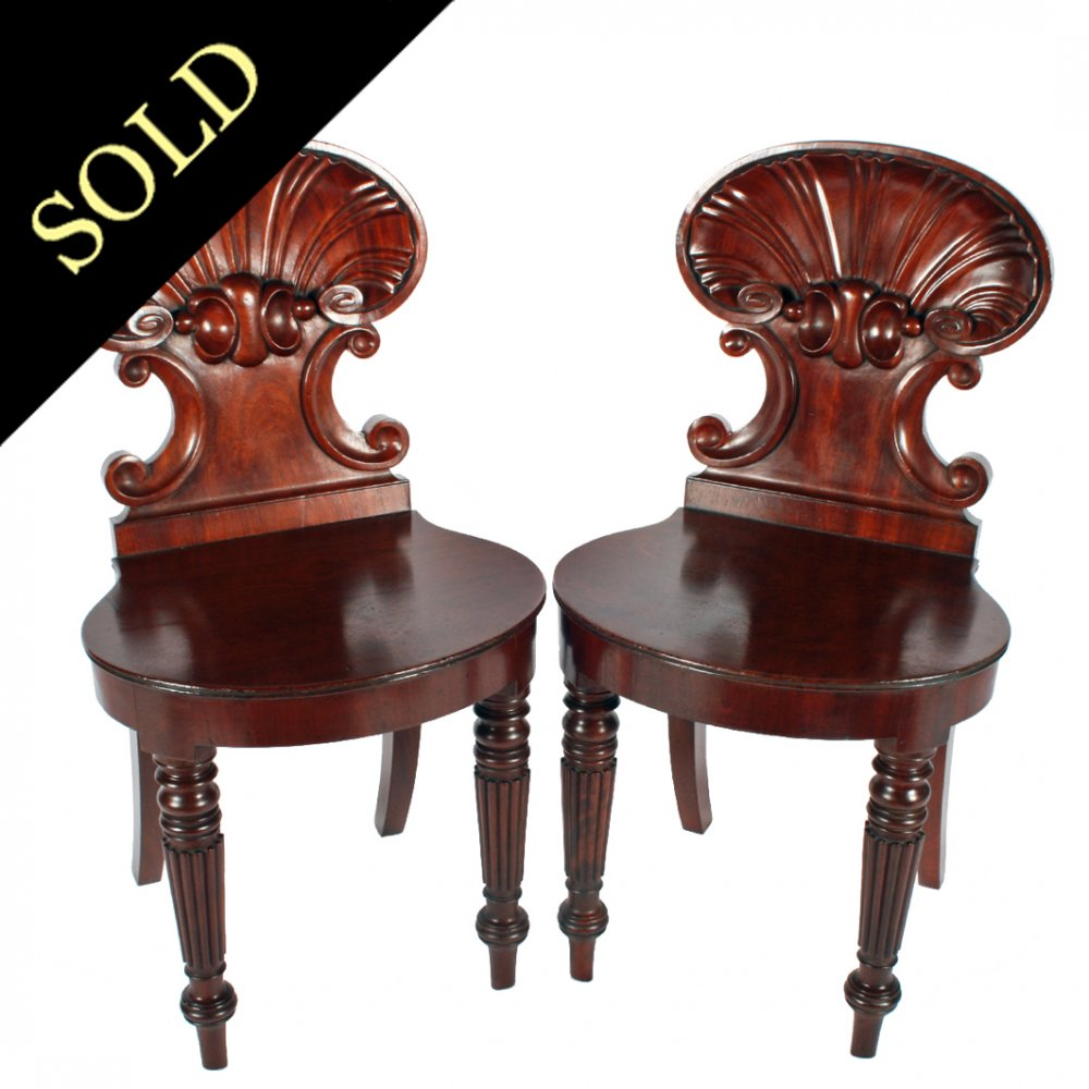 Pair of 'Gillows' Style Hall Chairs - Antique Hall Chairs Georgian Mahogany Hall Chairs