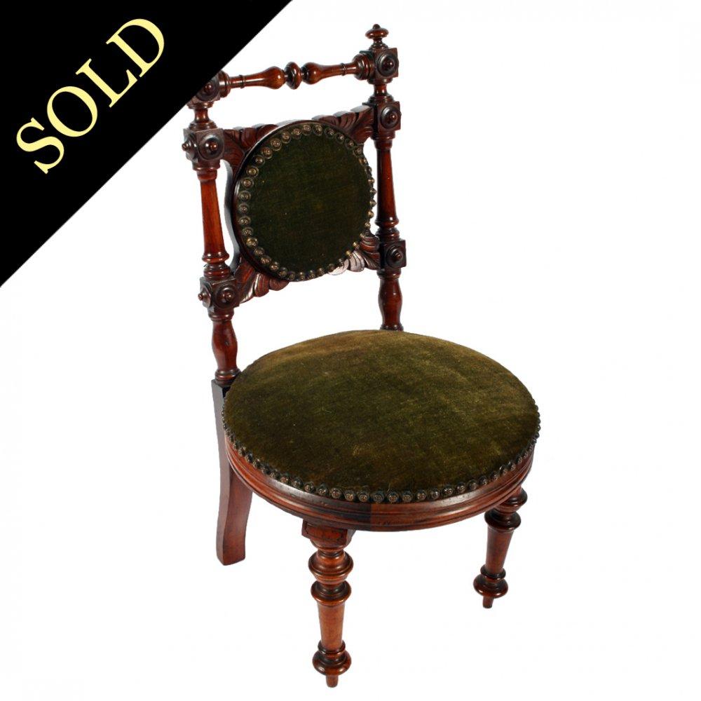 Victorian Walnut Child's Chair - Antique Child's Chair Victorian Walnut Chair