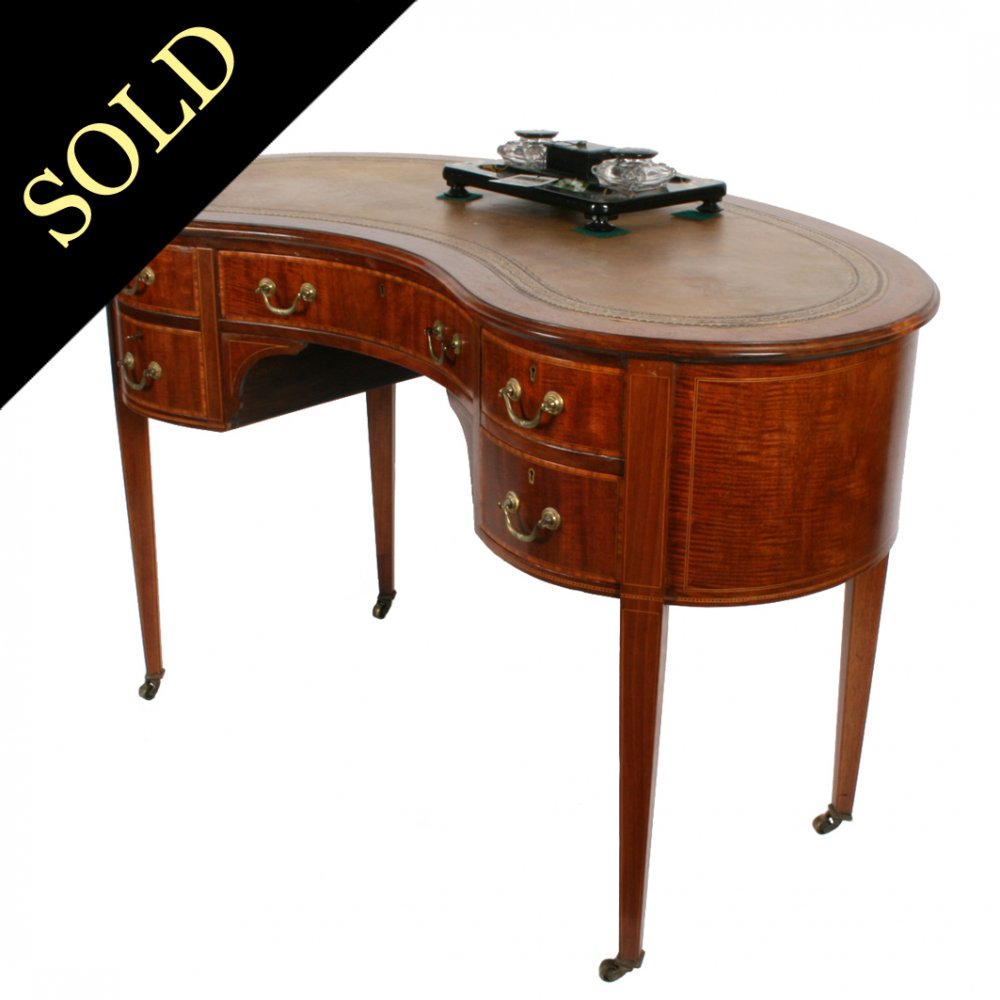 Edwardian Kidney Shaped Writing Table