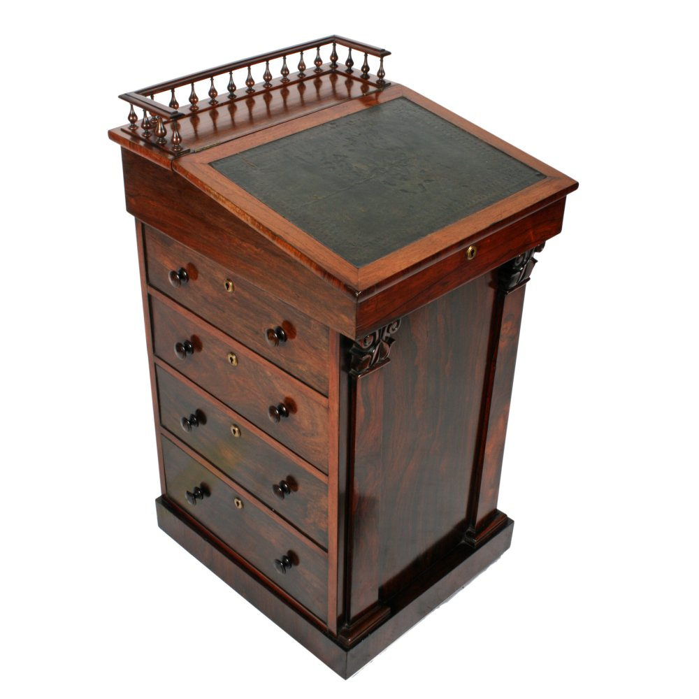 George IV Rosewood Davenport Desk - Antique Davenport Desk Georgian Rosewood Davenport