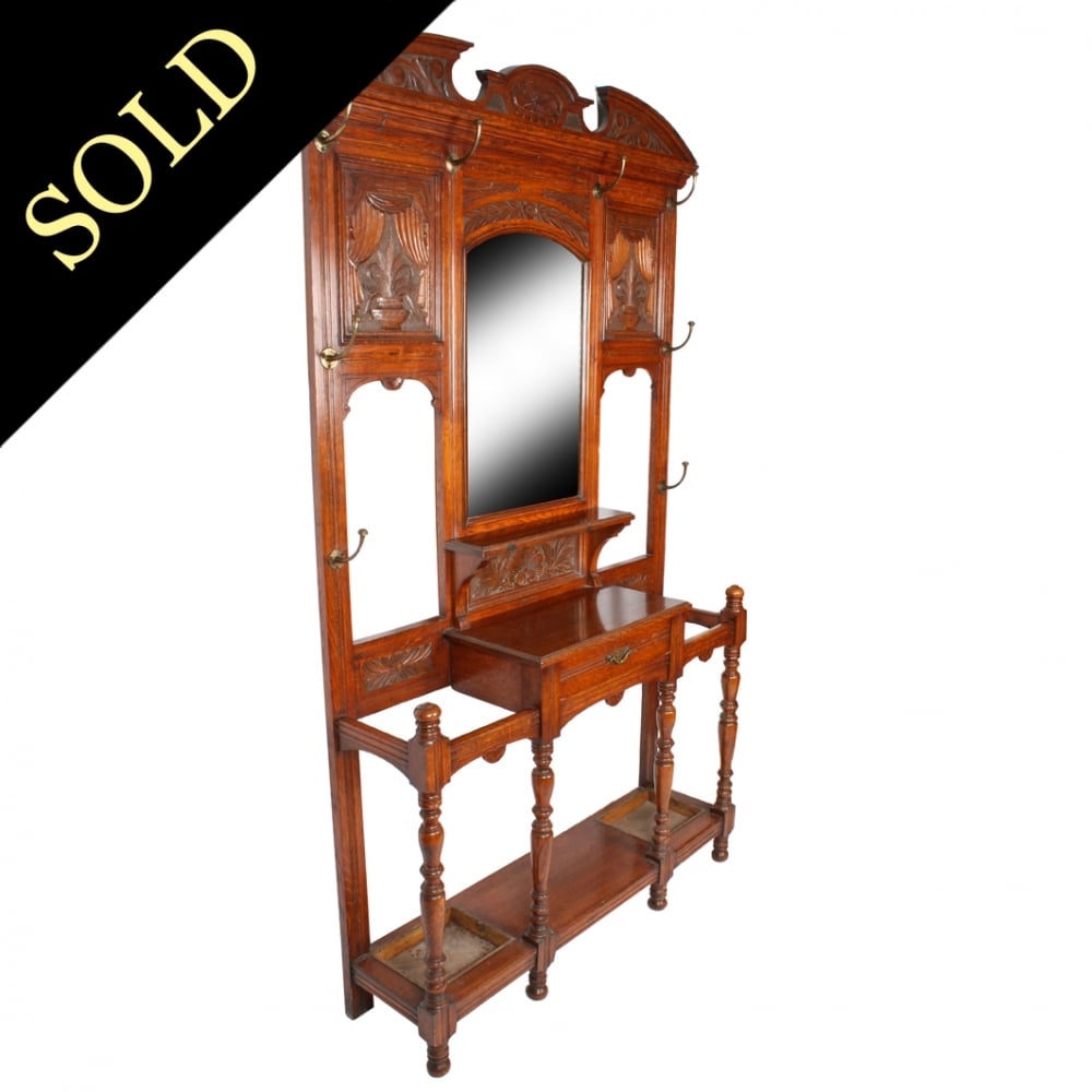 Antique Hall Stand Victorian Oak Hall Stand