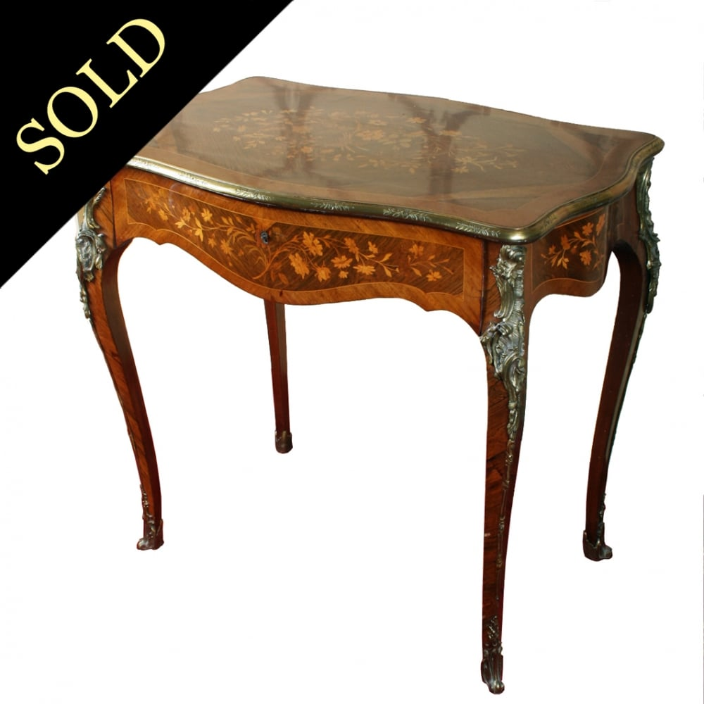 French Marquetry Inlaid One Drawer Table