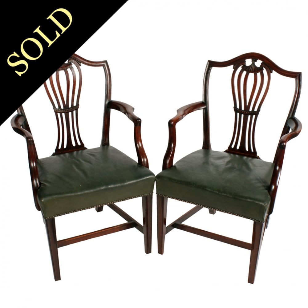 Pair of Georgian Hepplewhite Arm Chairs  sc 1 st  Graham Smith Antiques & Antique Elbow Chairs | Pair of Hepplewhite Chairs