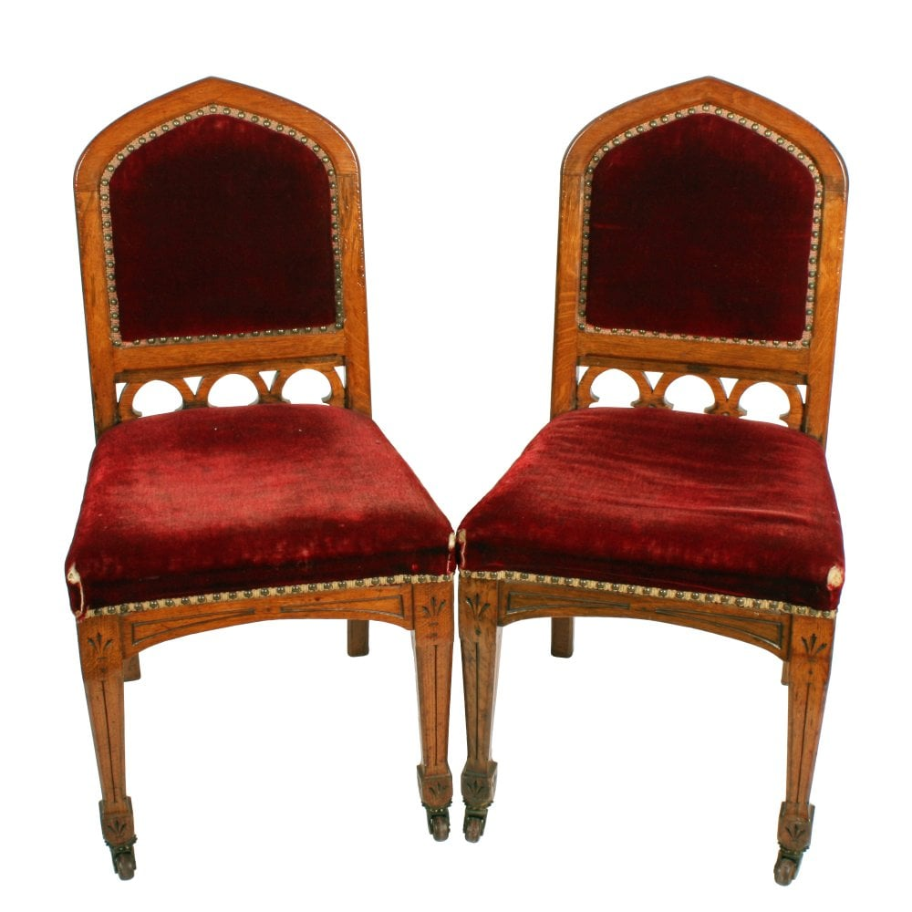 Pair Of Gothic Chairs Victorian Gothic Oak Chairs