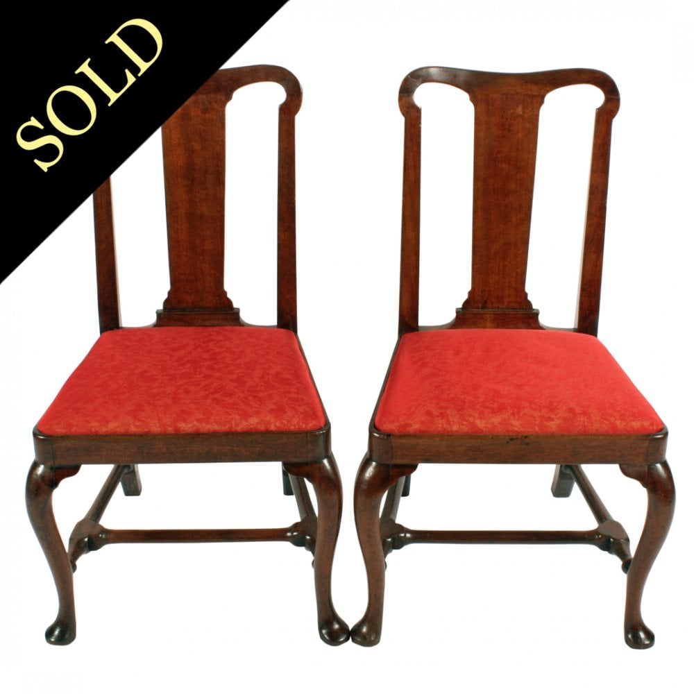 Antique Walnut Chairs Pair Of Queen Anne Chairs